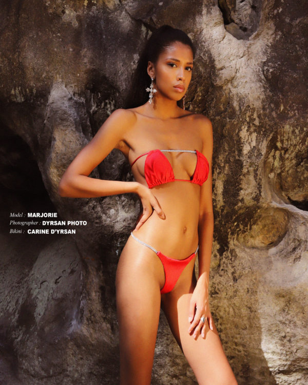 'RIVIERA' RED BIKINI TOP WITH CRYSTALS DETAILS